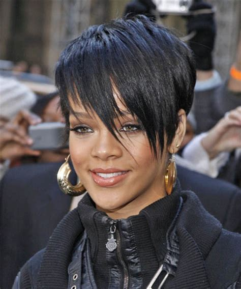 rihanna short straight casual pixie hairstyle black rihanna short straight alternative hairstyle with side