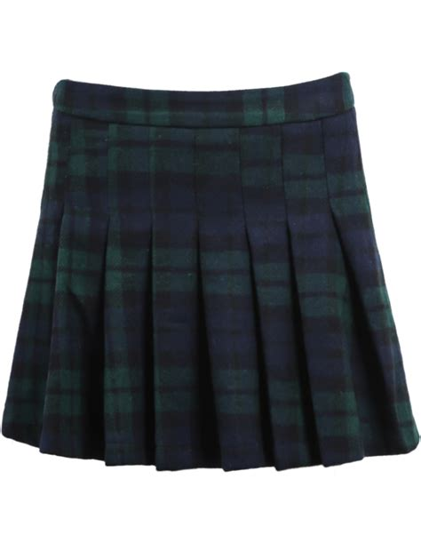 blue plaid pleated woolen skirt sheinside