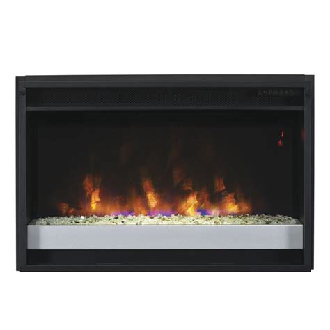 26 in contemporary electric fireplace insert with flush
