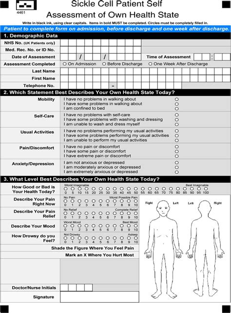 Patient self-assessment of hospital pain, mood and health