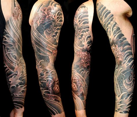 black amp grey flowers japanese koi sleeve tattoo slave to