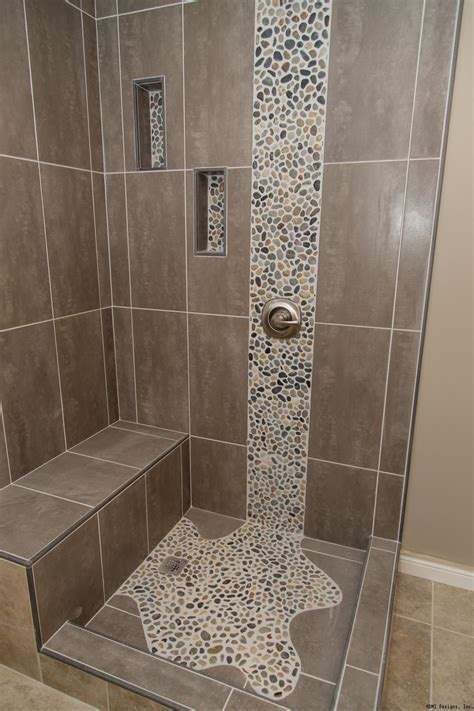 bathroom shower floor tile ideas spruce up your shower by adding pebble tile accents click