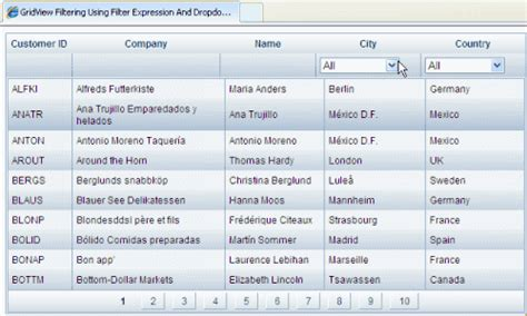grid view templates in asp net gridview filter expression with dropdownlist asp net