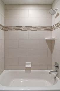 Glass Tile Accent Wall Bathroom We Oversized Subway Tiles In This Bathroom The
