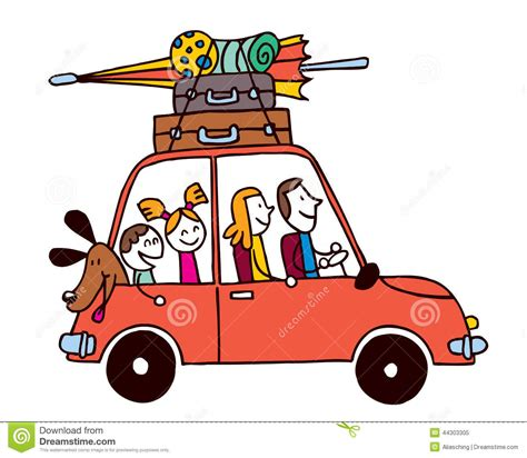 family car clipart family four vacation car luggage travel vector id 63725