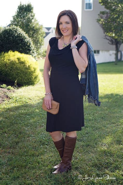 how to wear brown boots with black and dresses