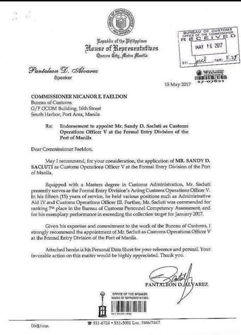 Promotion Declaration Letter Alvarez Confirms Endorsing Custom Officer S Promotion But