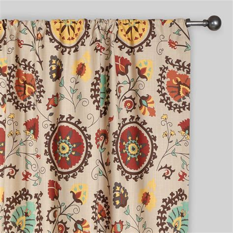 print curtains gold and red suzani cotton curtains set of 2 world market