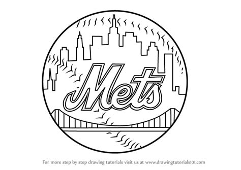 New Drawing Learn How To Draw New York Mets Logo Mlb Step By Step
