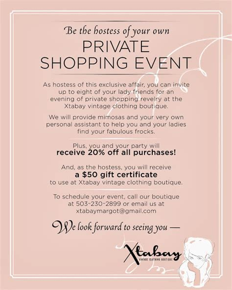 sle invitation card to an event xtabay vintage clothing boutique portland oregon
