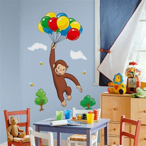 kid room wall decor curious george wall decals new room stickers decorations monkey decor ebay