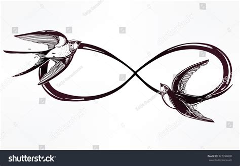 infinite tattoo vector hand drawn intricare infinity sign swallow stock vector