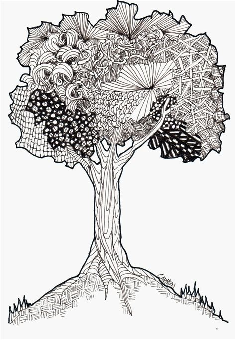 doodle draw tree beecher zentangle tree 8x10 pen and ink