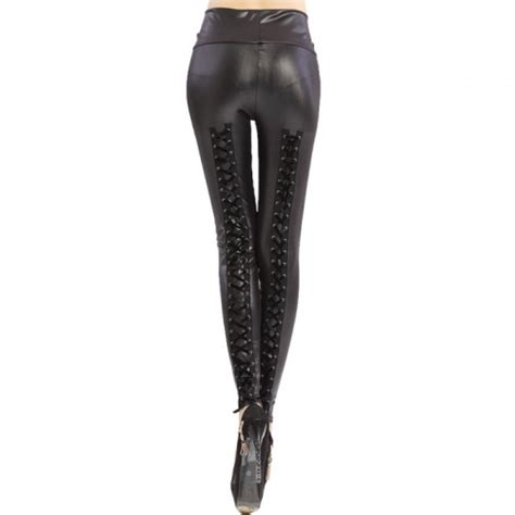 M10124 Bandage Legging Fit To Size 29 Kode Qe10124 stylish s criss cross lace up high waisted slimming