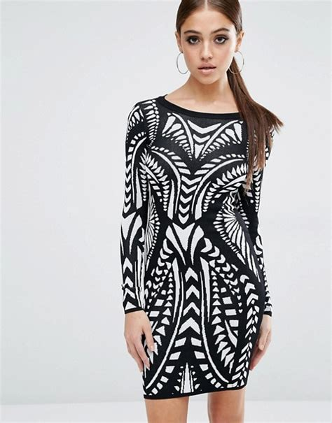 lipsy knitted dress lipsy fleur east by lipsy knitted bodycon dress in print
