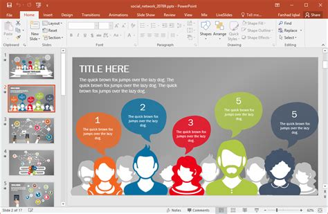 Animated Social Network Powerpoint Template Presentation Media Free