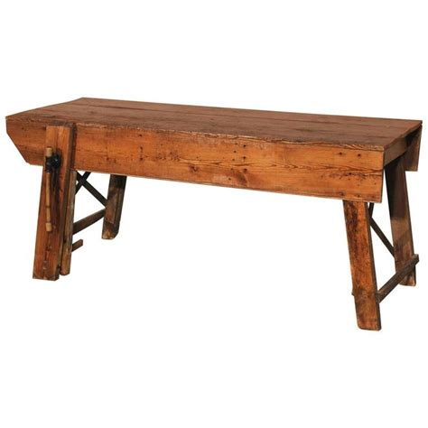 Primitive Dining Tables Primitive Industrial Farmhouse Style Dining Table Workbench With Wood Vise Leg For Sale At 1stdibs