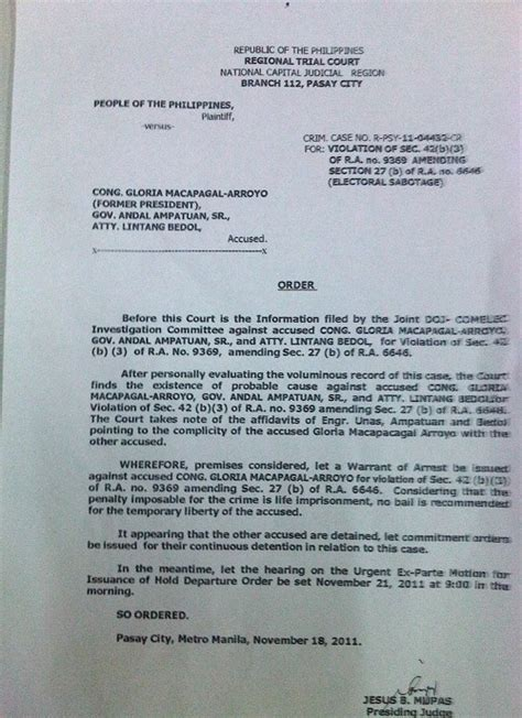 Exle Of Search Warrant In The Philippines Arrest Warrants Issued Vs Gloria Arroyo Two Others News
