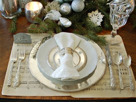 silver place settings christmas table decorations entertaining ideas party