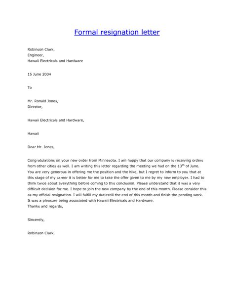 letter sle exles resignation letter for job