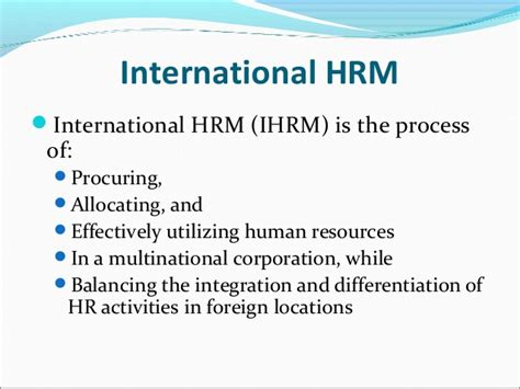 International Human Resource Management Notes Mba by Introduction To International Hrm