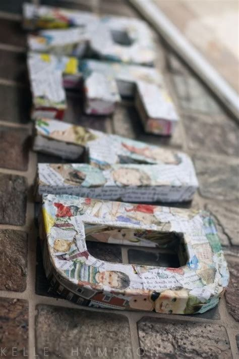 decoupage cardboard letters modge podge letters crafts