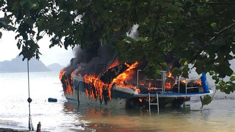 fire boat tour one injured as fire destroys phuket tour boat amid tour