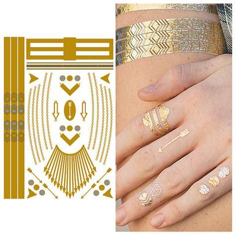 tattoo gold finger metallic gold finger jewelry temporary tattoo 1 sheet