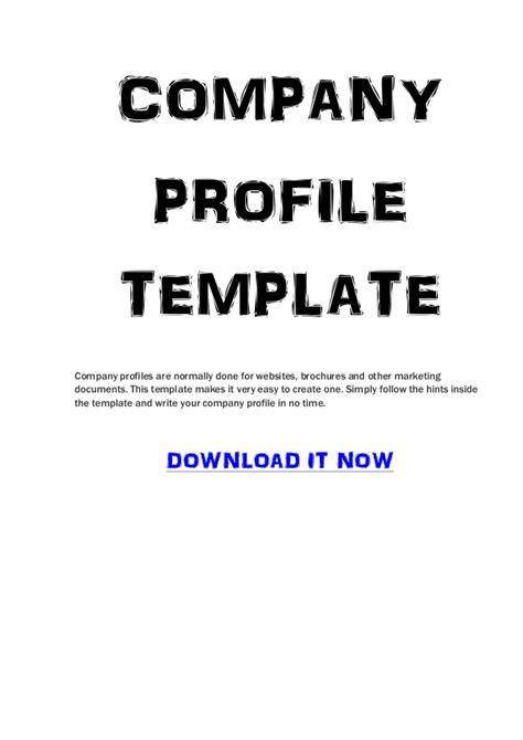 business profile template free company profile template