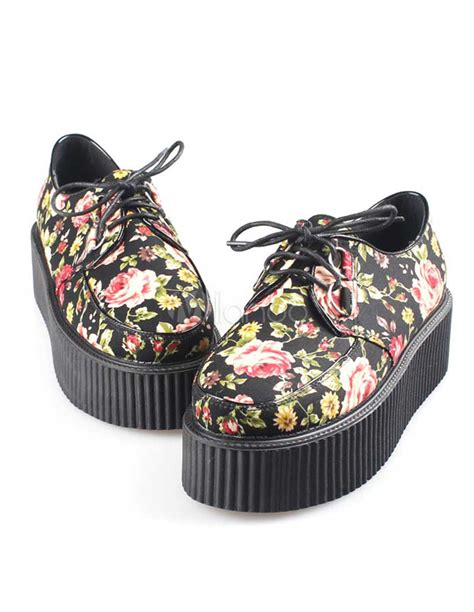 creepers fiori multi color floral pattern cloth platform creeper shoes