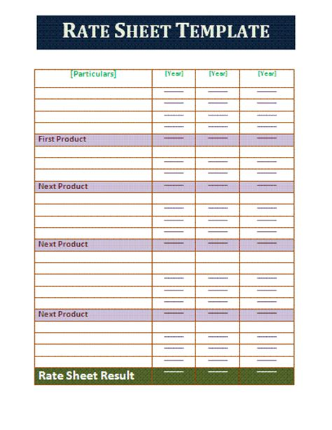 rate sheet templates rate sheet template free business templates