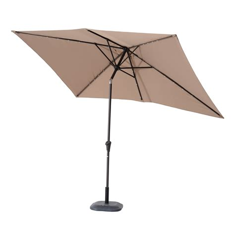 Solar Powered Patio Umbrella Lights Outsunny 6 5 X 10 Rectangle Solar Powered Led Lit Market Patio Umbrella Light Coffee Brown