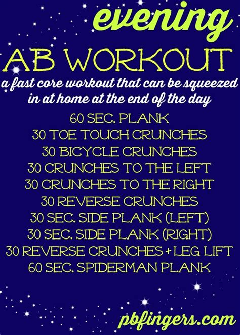 evening ab workout peanut butter fingers