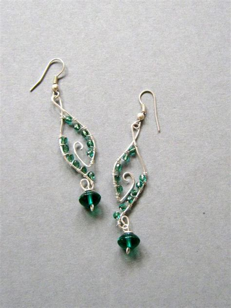 Via S Handcrafted Jewelry - handmade wire wrapped earrings green dangles handmade