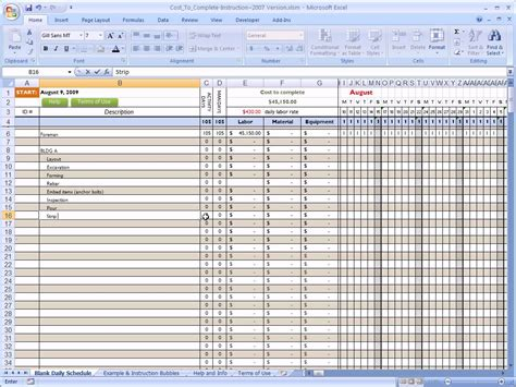 cost to complete for construction in excel youtube