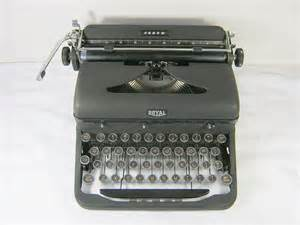 vintage royal arrow typewriter portable glass keys prop