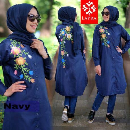 Flowy Muslim flowy navy baju muslim gamis modern