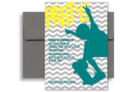 boys birthday invitations templates free boys skating surfing birthday invitations 5x7 in