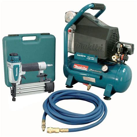 makita 2 hp air compressor with 18 brad nailer and 25 ft hose the home depot canada