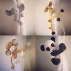 Monkey Curtains Nursery Curtain Tie Back Tieback Nursery Monkey Giraffe Panda Elephant Crochet Handmade
