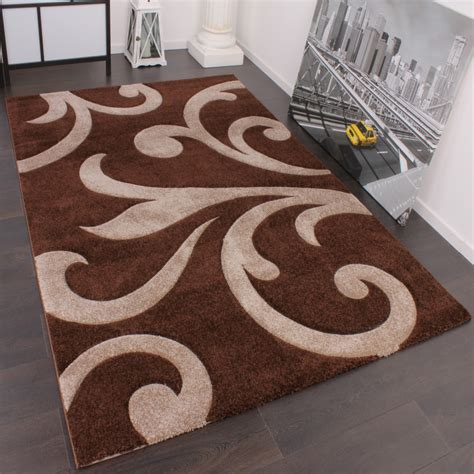 teppich beige braun designer teppich mit konturenschnitt modern braun beige