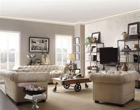 chesterfield living room set chesterfield living room set tufted tuxedo sofa loveseat armchair in beige linen