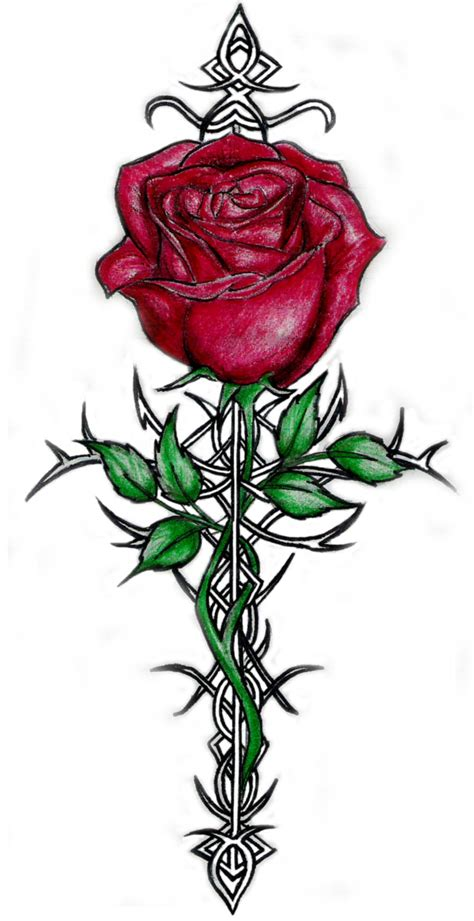 cross and rose tattoos images designs