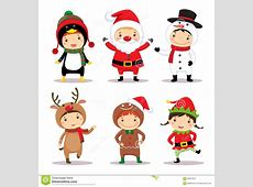 Cute Kids Wearing Christmas Costumes Stock Vector - Image ... Free Clip Art Santa And Reindeer