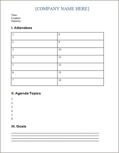 business meeting agenda template agenda templates