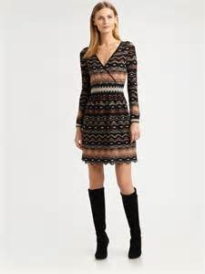 m missoni wrap front knit dress in natural lyst