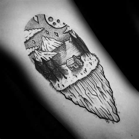 cliff tattoo 40 log cabin designs for dwelling ink ideas