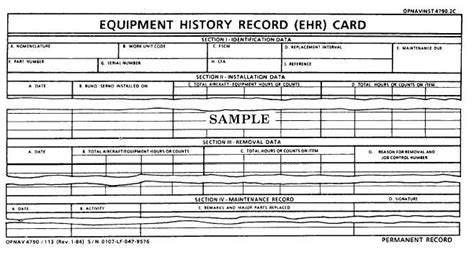 Navy Maintenance Requirement Card Template by Equipment History Record Ehr Card Opnav 4790 113