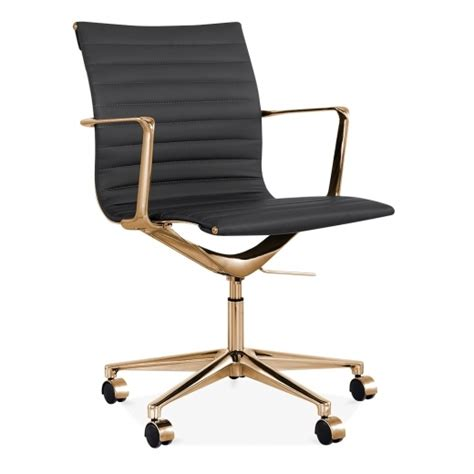 cult living black and gold ribbed office chair with