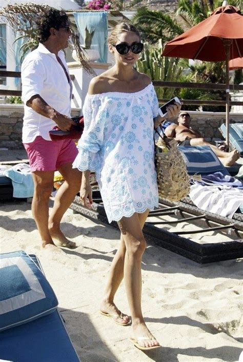 beach style off the shoulder cover up olivia palermo beach babe